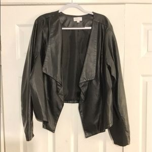 Avenue cardigan faux leather water fall jacket.
